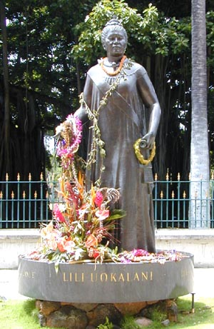 The statue of Queen Lili'uokalani on the grounds of the State Capitol in Honolulu, Hawaii